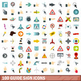 100 guide sign icons set, flat style. 100 guide sign icons set in flat style for any design vector illustration Vector Illustration