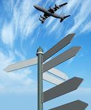 Guide sign and  plane Royalty Free Stock Photo