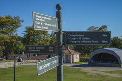 Guide signs at fredriksten fortress Royalty Free Stock Photo