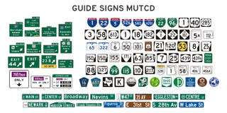 Guide signs. Set of isolated guide signs of usa vector illustration