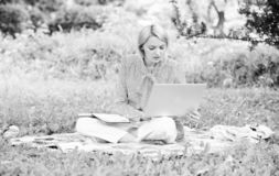 Guide starting freelance career. Business lady freelance work outdoors. Steps to start freelance business. Woman with royalty free stock images
