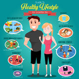 Guide to Healthy Lifestyle Infographics Royalty Free Stock Photography
