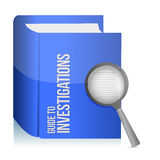 Guide to investigations book and magnify glass Stock Image