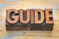 Guide word in letterpress wood type Stock Image