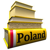 Guidebooks and dictionaries of Poland. Yellow guidebooks and dictionaries of Poland with flag Stock Images