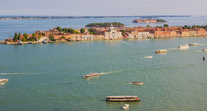 Guidecca island, Venice, Italy - June 27, 2014: Panoramic view on Guidecca island  from St. Mark's Campanile Royalty Free Stock Photography