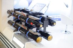 Guided anti-tank and anti-aircraft missiles at the exhibition Royalty Free Stock Photography