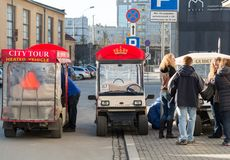 Guided City Tour Car in Krakow. Royalty Free Stock Photos
