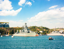 Guided Missile Cruiser Moskva in Sevastopol Stock Images