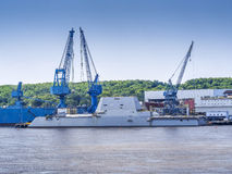 Guided-missile destroyer warship. Named U.S.S. Zumwalt being built Stock Photo