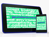 Guidelines Tablet Means Instructions Protocols And Ground Rules. Guidelines Tablet Meaning Instructions Protocols And Ground Rules Stock Photo