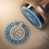 Guidelines or User Instructions. 3D illustration of rubber stamp with the text guideline over brown cardboard background. Concept of good use and practices Royalty Free Stock Image