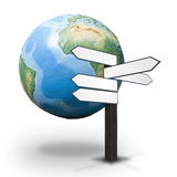 Guidepost and the Earth globe Stock Photos