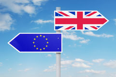 Guidepost with national flag of EU and UK Stock Photos