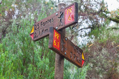 Guidepost on the peak Stock Photos