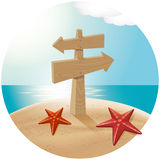Guidepost At The Sea Beach Royalty Free Stock Image