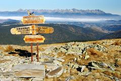 Guidepost in Tatra national park Royalty Free Stock Photography