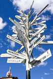 Guidepost with tens of directions to various citie Stock Images