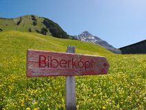 Guidepost to Biberkopf Royalty Free Stock Image