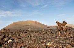 Guidepost to Timanfaya volcanic park, Lanzarote Stock Image