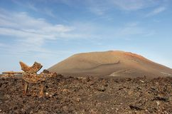 Guidepost to Timanfaya volcanic park, Lanzarote Stock Photos