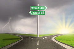 Guidepost to weight loss. Guidepost to choose weight loss or diabetes. shoot outdoors Royalty Free Stock Image