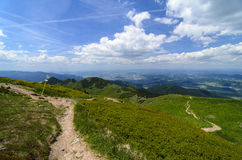 Guidepost and tourist paths in National park Mala Fatra Royalty Free Stock Image