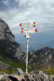 Guidepost - Via ferrata in Italy Stock Images