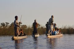 Guides and tourists in the Okavangodelta Stock Image