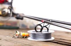 Guidez les anneaux sur les tiges de graphite et la corde watted Image stock