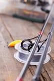 Guidez les anneaux sur les tiges de graphite et la corde watted Photographie stock libre de droits