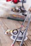 Guidez les anneaux sur les tiges de graphite et la corde watted Photos stock