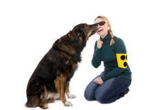 Guiding dog and mistress Royalty Free Stock Image