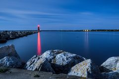 Michigan Great Lakes Lighthouse Beacon At Night Royalty Free Stock Image