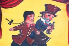 Guignol en Gnafron-marionetten op een muur Royalty-vrije Stock Foto