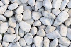 Guijarros blancos naturalmente pulidos de la roca Fotos de archivo