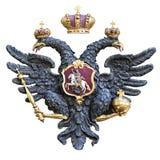 Águila doble-dirigida rusa aislada en el fondo blanco Imagen de archivo libre de regalías