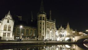 Guild Houses, their reflections and people, Ghent Stock Photos