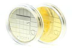 1 Guilder gold and sivler coin Royalty Free Stock Images
