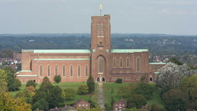 Guildford Cathedral, Surrey. Sunlight sweeps across the Anglican Cathedral in Guildford, Surrey stock video