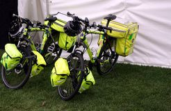 Guildford, England - May 28 2018: Two paramedic bicycles belongi. Ng to the St John Ambulance movement, a voluntary first aid medical organisation Royalty Free Stock Photos
