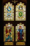 guildhall nedfläckada fönster för exponeringsglas Derry Londonderry Nordligt - Irland förenat kungarike royaltyfri foto