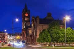 The Guildhall. Derry Londonderry. Northern Ireland. United Kingdom. The Guildhall at night. Derry Londonderry. Northern Ireland. United Kingdom Royalty Free Stock Image