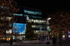 Guildhall square in Southampton on Christmas night royalty free stock image