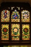 Guildhall. stained glass windows. Derry Londonderry. Northern Ireland. United Kingdom. Interior. The Guildhall. stained glass windows. Derry Londonderry Stock Image