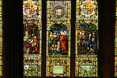Guildhall. stained glass windows. Derry Londonderry. Northern Ireland. United Kingdom. Interior. The Guildhall. stained glass windows. Derry Londonderry Stock Photos