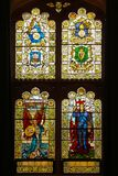Guildhall. stained glass windows. Derry Londonderry. Northern Ireland. United Kingdom. Interior. The Guildhall. stained glass windows. Derry Londonderry Royalty Free Stock Photo