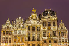 Guildhalls on Grand Place in Brussels, Belgium. Royalty Free Stock Photos
