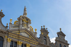 Guildhalls on the Grand Place of Brussels in Belgium. Royalty Free Stock Photo