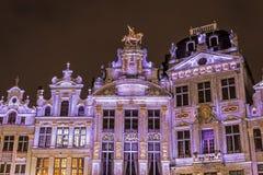 Guildhalls op Grand Place in Brussel, België. stock afbeeldingen